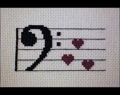 Bass Clef Heart Cross Stitch Pattern PDF by BlueTopazStitchery