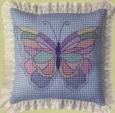 free patter for chicken scratch   ... Vintage Butterfly Pillow Blue Gingham Chicken Scratch Embroidery Kit