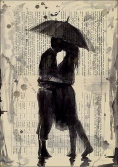 Kissing in the Rain - Ink Drawing
