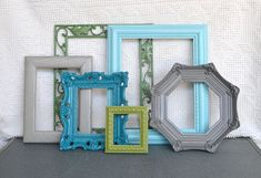 I love these colors together ....always love how it comes out... so elegant and modern at the same time... so fun! This upcycled frame set was made