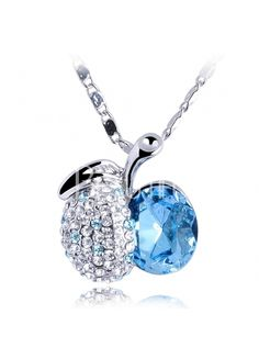 Beautiful Apple Diamond With Light Blue Crystal Necklace