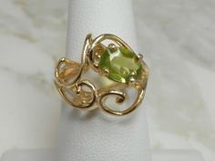 Wonderful Modernistic 14Karat Gold Natural Peridot Gemstone Ring by…