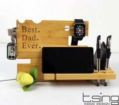 Father's Day Gift Personalized Wooden Dock and Charging Station For iPhone 5, iPhone 6, Mobile, Wallet, Apple Watch, Accessories by TsingDesign on Etsy https://www.etsy.com/listing/242653662/fathers-day-gift-personalized-wooden