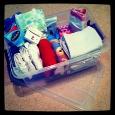 """A """"sick bin"""" pre-loaded with supplies you need to put your hands on right away when on of your babies gets sick- great idea from baby gizmo"""