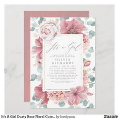 It's A Girl Dusty Rose Floral Cute Baby Shower Invitation Botanical Wedding Invitations, Elegant Wedding Invitations, Bridal Shower Invitations, Baptism Invitations Girl, Engagement Party Invitations, Baby Shower Invites For Girl, Girl Shower, Floral Baby Shower, Dusty Rose