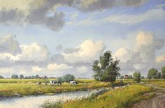 Fries zomerlandschap. Olieverf op doek 60x90cm, painting available ©Gert-Jan Veenstra www.galerie-offingawier.nl Landscape Photos, Landscape Paintings, Landscapes, Summer Painting, Cute Cows, Dutch Painters, Countryside, Holland, Clouds