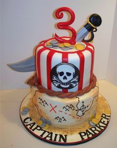 Pirate Birthday Cake Thanks to to many on cc for the inspiration! Pirate Birthday Cake, Cupcake Birthday Cake, Cupcake Cakes, Cupcakes, Pirate Party Decorations, Cakes For Boys, Cake Creations, Creative Cakes, Party Cakes