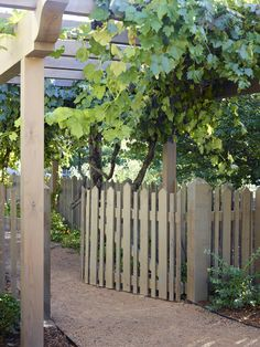 Elements of a working farm are woven through the landscape design, including vegetable beds and a trellis supporting edible grapes.