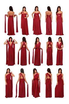 Red Maxi Dress with . Infinity Dress Ways To Wear, Infinity Dress Styles, Infinity Dress Bridesmaid, Bridesmaid Dress Styles, Infinity Dress Tutorial, Convertible Bridesmaid Dresses, Infinity Gown, Multiway Bridesmaid Dress, Vestido Convertible