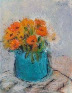 R. Davis - still life of orange flowers in a blue vase - 1991