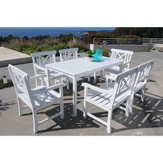 Vifah Bradley 7-piece Table/ Arm Chair Outdoor Dining Set