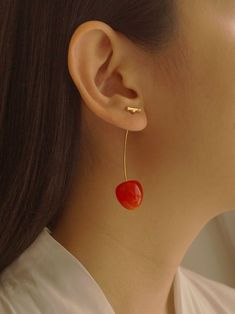 Petit Cher (Cherry) Earrings *Gold-plated stems – Gabi The Label Cherry Earrings, Round Earrings, Drop Earrings, Heart Shaped Diamond, Diamond Studs, Jewelry Shop, Jewellery, Fall Jewelry, Jewelry Branding