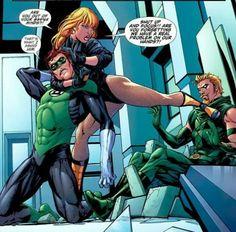 Black Canary Green Lantern and Green Arrow