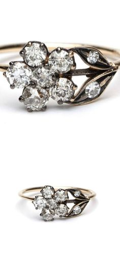 Sofia Kaman antique-inspired, gold floral motif ring with old mine-cut diamonds.