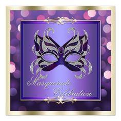 Elegant Purple Shimmering Lights Bokeh Masquerade Personalized ...