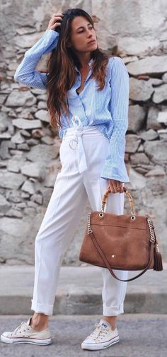 what to wear with a brown bag sneakers blue blouse white pants