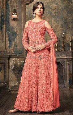 4a2d23f134 #Shop This Glamorous Orange Net #Designer #Long #Anarkali Suit With Scoop  Neck