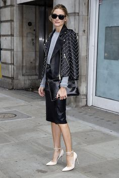 Olivia looking polished in chic leather. #OliviaPalermo