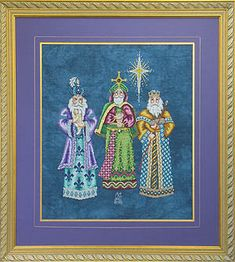 Glendon Place We Three Kings - Cross Stitch Pattern. Model stitched over 2 threads on 28 count Mystic Cashel linen using DMC or Anchor floss, Kreinik #4 braid,