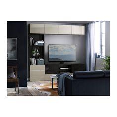 BESTÅ TV storage combination/glass doors - black-brown/Selsviken high gloss/beige smoked glass, drawer runner, soft-closing - IKEA