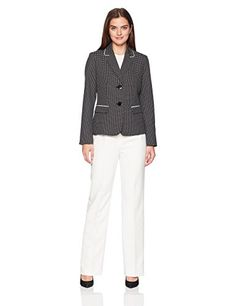 LeSuit Womens Glazed Melange 2 Btn Notch Collar Pant Suit Business Suit Pants Set