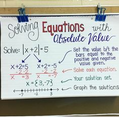 Solving equations with absolute value middle school math математика. Algebra Help, Maths Algebra, Math Math, Algebra Equations, Math Fractions, Algebra Humor, Math Teacher, Math Classroom, Teaching Math