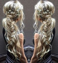messy boho ponytail with fishtail braid                                                                                                                                                                                 More