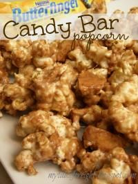 Candy Bar Popcorn on MyRecipeMagic.com is the perfect treat for your movie night!! #popcorn #candybar #butterfinger