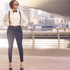 Black Suspenders With Blue Denims, White Shirt, Black Shades, Heels And Also Red Bow Tie. Suspenders Outfit, Suspenders For Women, Black Suspenders, Women Bow Tie, Casual Work Outfits, Stylish Outfits, Stylish Clothes, Work Fashion, Fashion Outfits