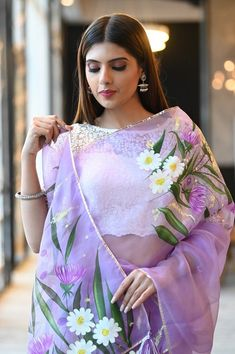 Saree Painting Designs, Fabric Paint Designs, Half And Half, Floral Print Sarees, Hand Painted Sarees, Indian Designer Sarees, Organza Saree, Painted Clothes, Saree Look