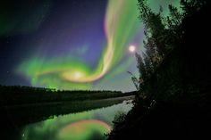 Aurora lights last month by David Cartier, Sr., Whitehorse, Canada