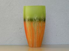 Green & Orange Tall Vase, Made in Poland