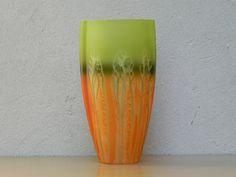 Green & Orange Tall Vase, Made in Poland