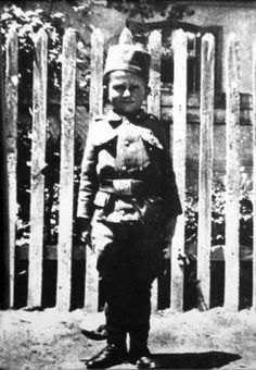 The youngest soldier in World War I. Momčilo Gavrić, Serbia at the outbreak of the war. His whole family were killed in 1916. At ten, he was promoted to Corporal and at eleven to Lance Sergeant.