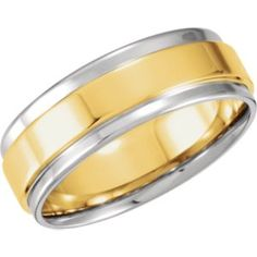 14kt White & Yellow 7.5mm Comfort-Fit Flat-Edge Band