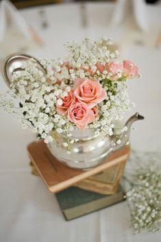 Image result for Flower arrangement in a teapot for tea table
