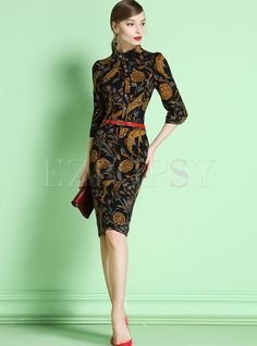 Shop for high quality Stand Collar Floral Slim Half Sleeve Bodycon Dress online at cheap prices and discover fashion at Ezpopsy.com