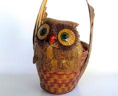 Vintage Owl Decor - Woodland Decor Owl Basket -