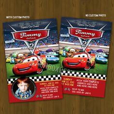 CARS 2 Lightning Mc Queen Ticket Invitation Race Car Printable