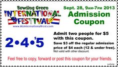 Print this coupon to travel the world at the Bowling Green International Festival