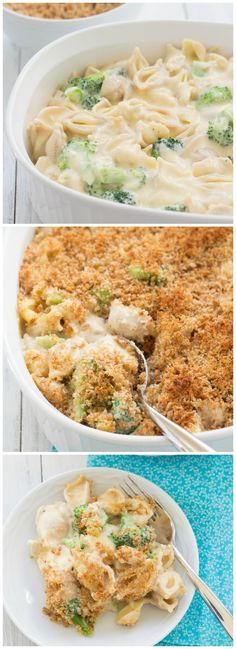 Creamy, CHEESY Shells with Broccoli and Chicken! The best comfort food! @Kristine's Kitchen