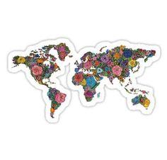 Floral World Map Sticker