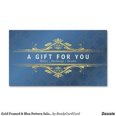 Gold Framed & Blue Pattern Salon Gift Certificates Business Card