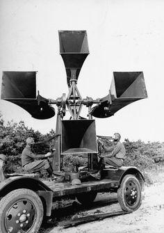 """Giant WWI """"war tubas"""". Old school listening tech"""