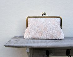 Lace clutch lace bridal clutch nude clutch by ConstanceHandcrafted, $55.00