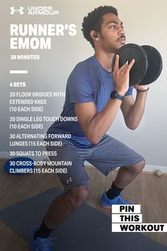 Engage your lower body in this 20 minute runner's EMOM workout. Emom Workout, Gym Workouts, At Home Workouts, Yoga For Beginners, Beginner Yoga, Monday Workout, Gymnastics Workout, Yoga Positions, Hiit