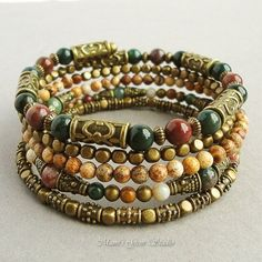 Boho Gypsy Bracelet, Wrap Around Bracelet, Beaded Memory Wire Bracelet, Bloodstone, Jasper, Antique Brass, Green Pink Brown