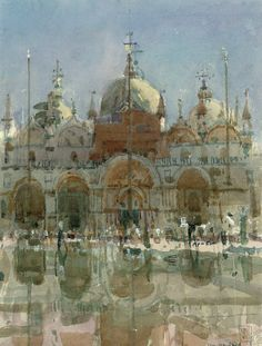 Ken Howard, R.A. (b. 1932, UK)  San Marco, High Water. 1987  watercolour and bodycolour. 13½ x 10¼ in. (34.3 x 26 cm.)