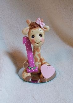 *POLYMER CLAY ~ giraffe  children birthday ckake topper first 1 Christmas ornament animal lavender baby.