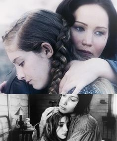 I think this shows that Prim is growing up because before Katniss is consoling Prim and telling her that she will be okay. But in the Catching Fire picture Prim seems more accepting and doesn't seem as scared or worried just filled with grief BTW it's a bad edit cuz Prim's hair turns black...
